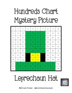 {FREE} St. Patrick's Day Leprechaun Hat Hundreds Chart Mystery Picture - This is a fun worksheet for students to practice place value and recognizing colors and numbers on a hundreds chart. Use the key to color in the boxes and reveal a hidden picture!