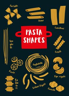 """Beautiful """"Pasta Shapes"""" metal poster created by Lotta Hakola. Our Displate metal prints will make your walls awesome. Food Poster Design, Graphic Design Posters, Pasta Art, Japanese Poster Design, Kitchen Posters, Shape Posters, Japanese Typography, Pasta Shapes, Simple Illustration"""