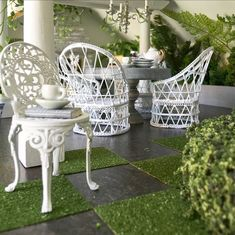 Your place to buy and sell all things handmade Thing 1, White Gardens, Garden Chairs, Diorama, Dollhouse Miniatures, Cast Iron, Table Decorations, Elegant, Interior