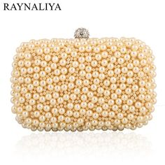 Women Fashion Minaudiere Beige Party Pearl Clutch Bag Rhinestone Cocktail Evening Purse Handbag Beading Bags Smyxst-e0004
