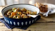 This mild and creamy turkey curry is quick and tasty and uses mainly storecupboard spices – and Christmas leftovers.
