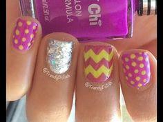 Trendy Polish Skittle Nail Art Tutorial - #trendypolish #skittlenails #nailart #nailpolish #brightpolish - bellashoot.com
