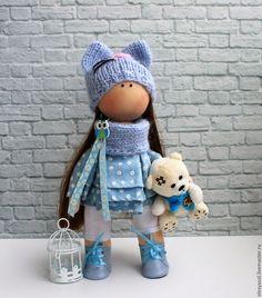 Купить Интерьерная куколка Кошечка - голубой, подарок на любой случай, подарок девушке
