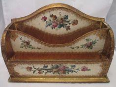 Vintage letter holder/organizer desk caddy, legno wood, italy