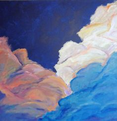 """Cotton Candy Dreams - 24"""" x 24"""" original acrylic painting - cloud inspired abstract painting"""