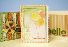 Oh My Crafts Blog: Let the Fun Begin Card - Supplies Used:  American Crafts : Dear Lizzy Neopolitan Collection  Basic Grey : Brads   My Mind's Eye : Twine   EKSuccess : EK Tools - Bumpy Road Edger Punch   White Cardstock   Sewing Machine and Brown Thread   -- instructions on blog