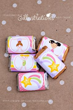 Girls Gymnastics Candy Bar Wrappers - JW Illustrations - #gymnastics Printable Gymnastics Party Favors
