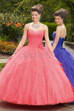 Chiffon Mitte Rücken tiefe Taile kaskadierende Rüsche Schnürrücken Ballkleid Quinceanera Kleid