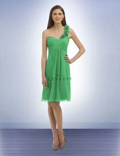 Kelly green one shoulder chiffon bridesmaid dress