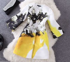 Runway Elegant Woman Coat Long Sleeve Yellow White Print Fall Winter S M L   #Unbranded #BasicCoat