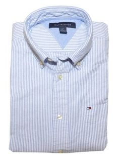 Tommy Hilfiger Men Striped Short Sleeve Logo Oxford Shirt - WANT THIS