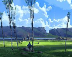 """Sympathy Fields"", Espen Olsen Sætervik on ArtStation at https://www.artstation.com/artwork/wExlO"