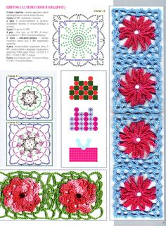 Irish lace, crochet, crochet patterns, clothing and decorations for the house, crocheted. Crochet Chart, Filet Crochet, Crochet Motif, Irish Crochet, Crochet Stitches, Knit Crochet, Crochet Purse Patterns, Crochet Purses, Flower Patterns