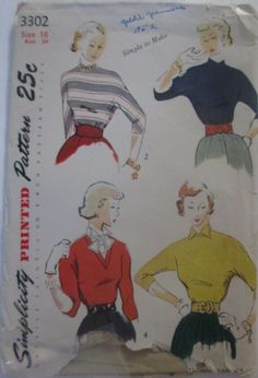 Simplicity 3302 Womens 50s Pullover Blouse & Dickey by Denisecraft, $12.99