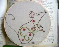Embroidery Pattern PDF Girl with Flower por sewjenaissance en Etsy