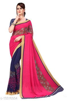 Sarees Anand Sarees Printed Georgette Saree with Blouse Piece Saree Fabric: Georgette Blouse: Running Blouse Blouse Fabric: Georgette Pattern: Printed Blouse Pattern: Printed Multipack: Single Sizes:  Free Size (Saree Length Size: 5.2 m, Blouse Length Size: 0.8 m)  Country of Origin: India Sizes Available: Free Size   Catalog Rating: ★3.9 (557)  Catalog Name: Aishani Voguish Sarees CatalogID_2608993 C74-SC1004 Code: 992-13316934-855