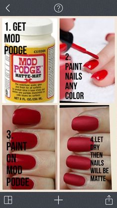 DIY matte nail polish by simone DIY matter Nagellack von simone Nail Polish Hacks, Nail Art Hacks, Nail Art Diy, Nail Tips, Nail Ideas, Makeup Ideas, Nail Polish Crafts, Makeup Hacks, Matte Nails Diy
