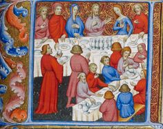 Свадебный пир в Кане The Wedding Feast at Cana. Royal MS 1 E IX f. 276r @BLMedieval
