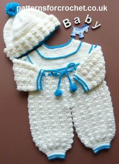 Free crochet pattern for rompers and bobble hat by Patterns For Crochet. The size is given for a newborn to three month old baby.