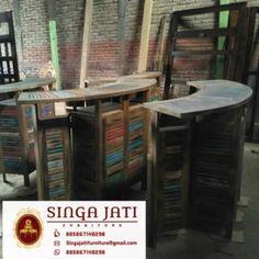 kursi Kafe Rustik Minimalis Kayu Jati Berkualitas - Singa Jati Bookcase, Shelves, Modern, Bar, Furniture, Collections, Home Decor, Shelving, Trendy Tree