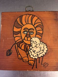 Mod Wall Art Lion Lamb Hand Painted Wood Plaque Peace Theme Made USA 1972 MCM