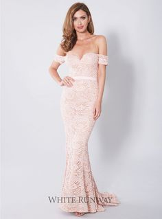 Carina Dress. A stunning gown by Elle Zeitoune. A lace style featuring an off shoulder neckline and small train.
