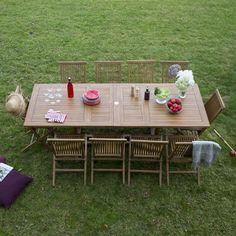 Table de jardin Teck rectangulaire extensible 180/215/250x100cm SIBOLGA GreenPath port offert