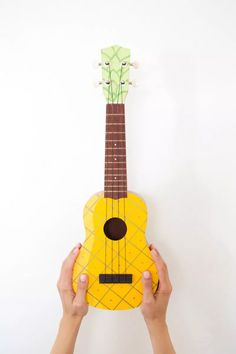 What a fun idea! DIY Painted Pineapple Ukulele!
