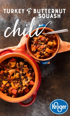 This delicious Turkey and Butternut Squash Chili is the perfect dinner during the cold fall nights. Squash Chili Recipe, Chicken And Butternut Squash, Crockpot Recipes, Soup Recipes, Cooking Recipes, Healthy Recipes, Recipies, Chilli Recipes, Sangria Recipes