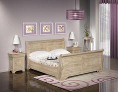 Lit Bateau Martin  en chêne massif 140*190 de style Louis Philippe Finition Chêne Brossé Blanchi , meuble en Chêne massif