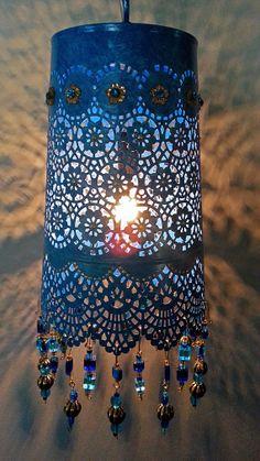 Blue Agate Hanging Lantern by NidoBeatoCreations on Etsy, $95.00
