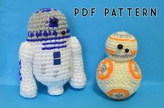 R2D2 and BB8  Star Wars Droids  Crochet Pattern by MichellesCW
