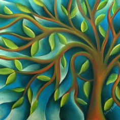 ARTFINDER: Tree of Life by Tiffany Budd - This is a small pastel painting of a stylised tree using Tiffany's Fractured technique.