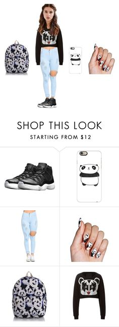 """""""PANDA"""" by tkaigibson-1 on Polyvore featuring NIKE, Casetify, REGALROSE, men's fashion and menswear"""