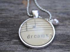Music Note Necklace from Vintage Sheet Music DREAMS by www.kraftykash.net $21.00 #jewelry  #etsy #handmade