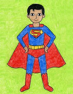 Drawing Classes For Kids, Basic Drawing For Kids, Art Drawings For Kids, Drawing For Beginners, Easy Drawings, Art For Kids, Pencil Drawings, Superman Drawing, Superman Art