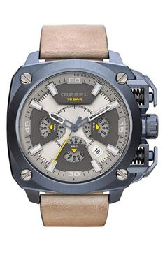 Men's DIESEL 'BAMF' Chronograph Leather Strap Watch