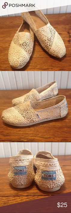 TOMS crochet style cream size 7.5 TOMS crochet style cream size 7.5, off white/ cream colored,good condition TOMS Shoes