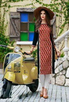 259f0e7e34 Readymade Rust,Black Cotton Printed Tunic #kurti #ladiestops #cottonkurti  #kurtionline #. Nikvik