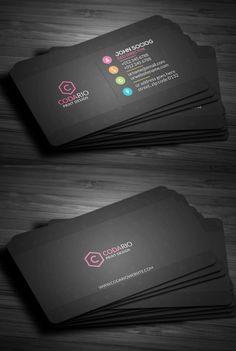 Sleek Dark Black Business Card #businesscards #visitingcards #printtemplates