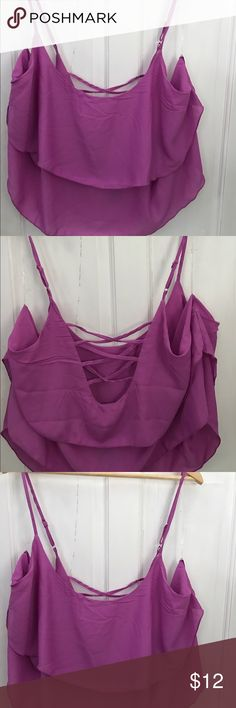 Lilac Purple Chiffon Strappy Flowy Crop Top  3X 20 Lilac purplish pink chiffon crop top size 3X. Also have a 2X. Chiffon flowy crop top. Slightly cropped. Adjustable straps. Hype Tops Blouses