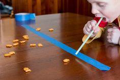 Blow Goldfish crackers, hockey with goldfish, etc