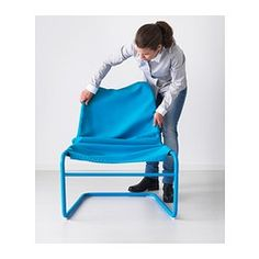 IKEA - LOCKSTA, Chair, orange, , The cover is easy to keep clean as it is removable and can be machine washed.The armchair is lightweight and easy to move if you want to clean the floor or rearrange the furniture.