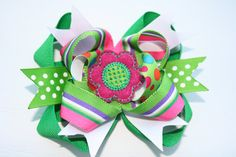 Boutique Stacked Hair Bow in Going Green (and pink) by TheSweetBCollection, $7.99