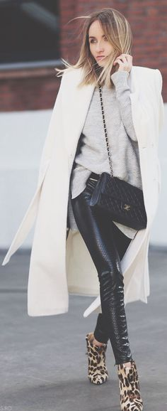 leather pants white coat... leopard heels