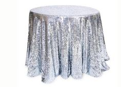 """Silver Sequined Metalic Table Cloth 90"""" Round New Wedding Bridal Banquet 