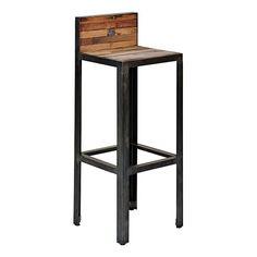 chaise de bar en métal noir et assie en bois de frêne style ... - Chaise De Bar Industriel