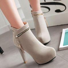 Zipper Decoration Round Toe Stiletto High Heels Short Boots