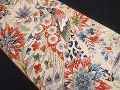 大正ロマン 孔雀に唐花模様織り出し袋帯