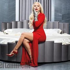 #LadyGaga in all red, wearing the Jimmy Choo HOOPS pumps